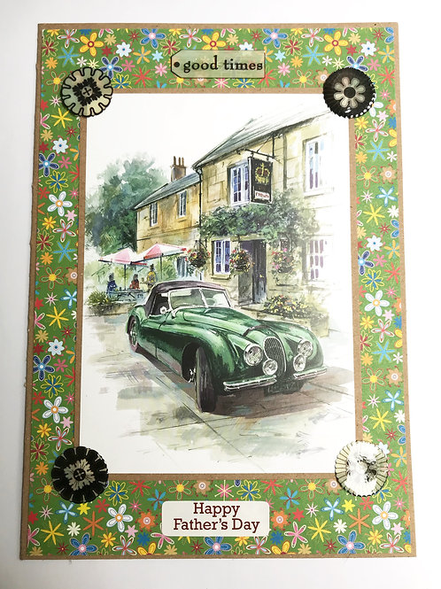 Vintage Car Farther's Day Card