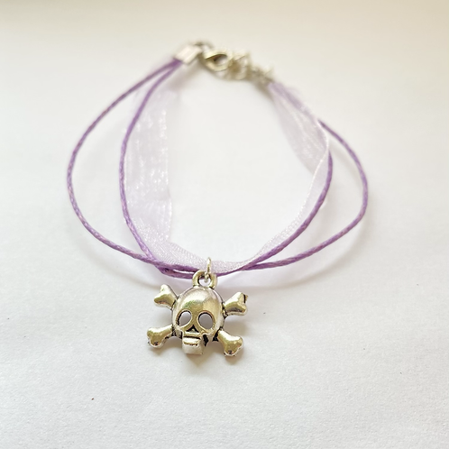 Organza Ribbon Skull Bracelet