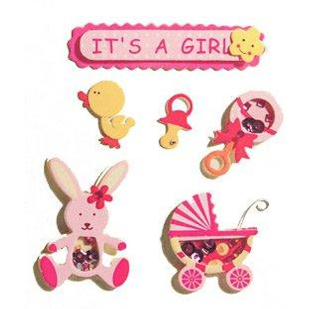 It's A Girl - Pink Embellishments