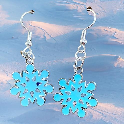 Icy Blue Snowflake Earrings