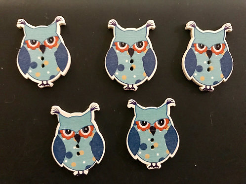 Blue Tufted Owl Buttons