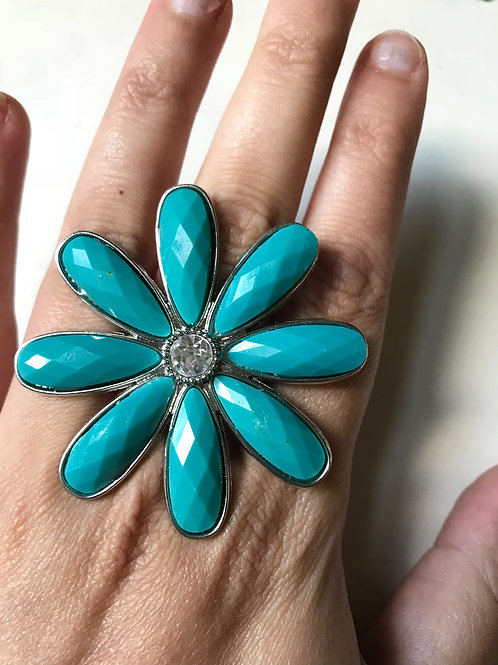 Big Turquoise Flower Ring
