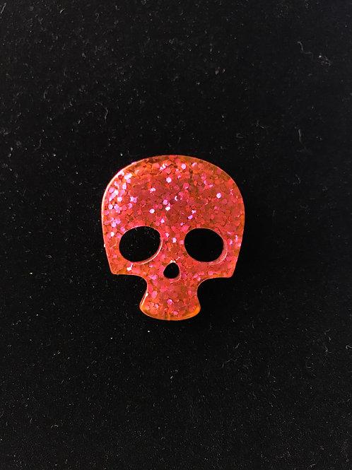 Red Cerise Glitter Skull Brooch