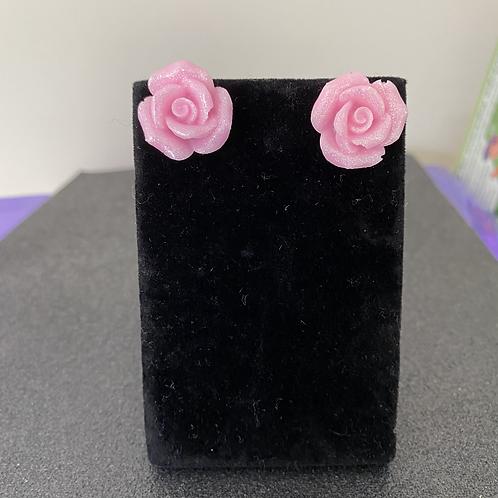 Pale Pink Glitter Rose Studs