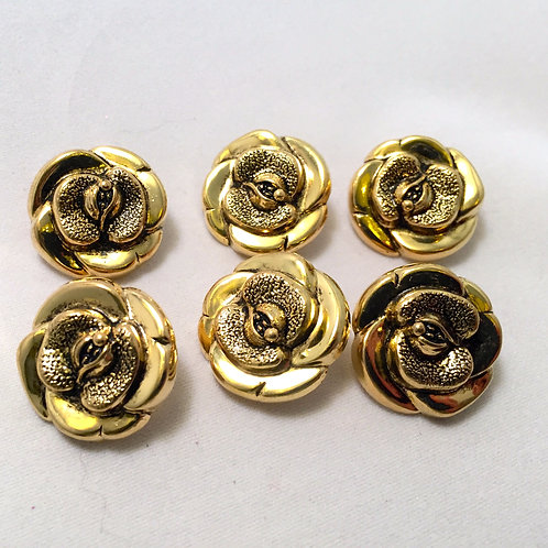 Vintage Style Gold Rose Buttons