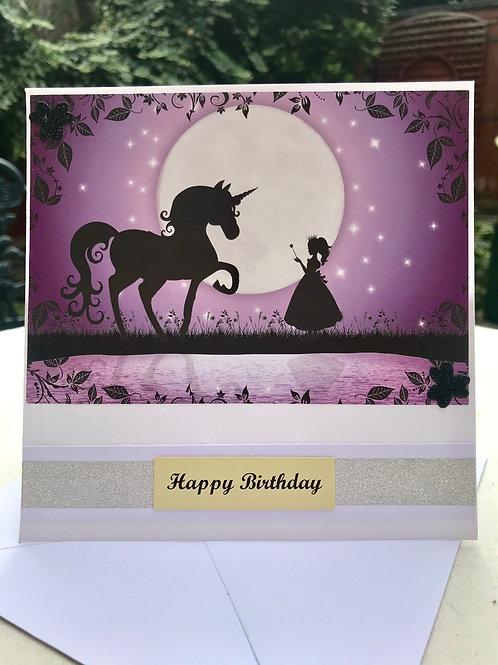 Purple Twilight Unicorn Birthday Card