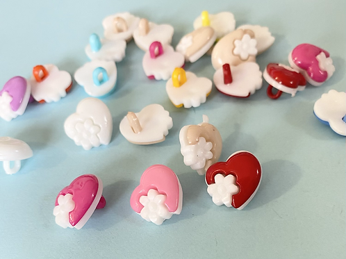 Heart and Flower Buttons