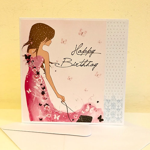 Happy Birthday - Girl in Pink Card