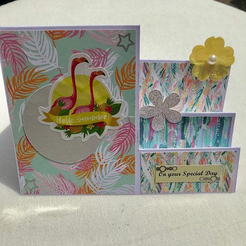 Summer Flamingos Stepper Card