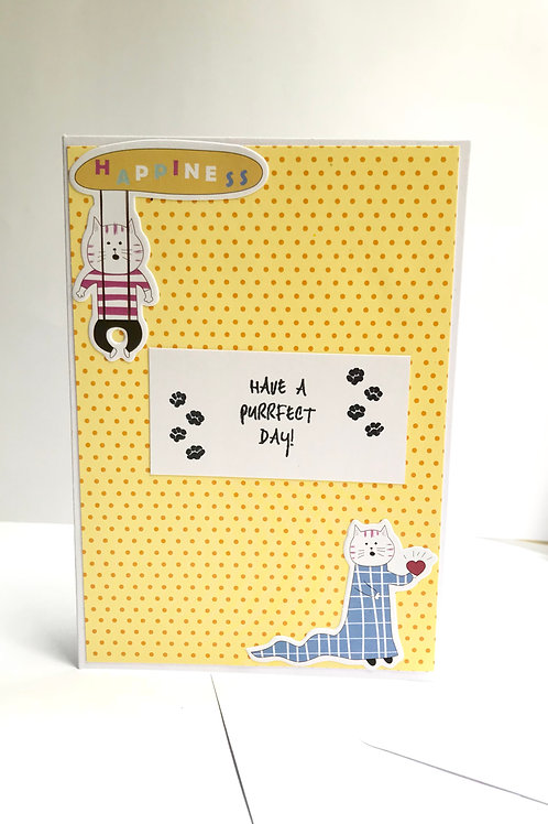 Quirky Cat Corner Happiness Card - Have a Purrfect Day