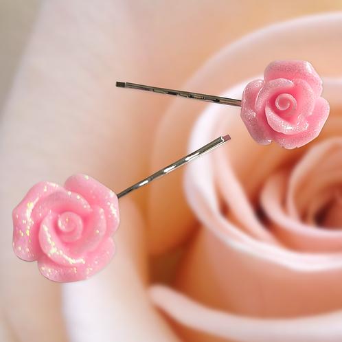 Glittery Rose Hair Grips