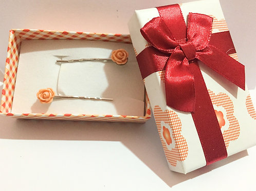 Handmade Rose Hair Grips - Peach
