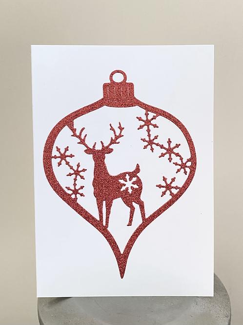 Reindeer Bauble Glitter Christmas Card