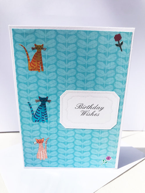 Blue Birthday Wishes Cats Card