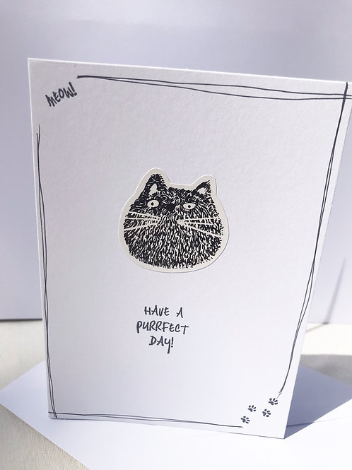 Purrfect Day Card - Smudge Cat