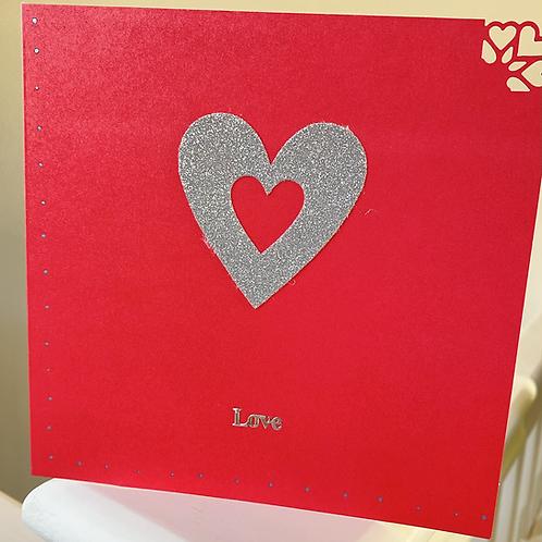 Silver Glitter Heart - Valentine's Card