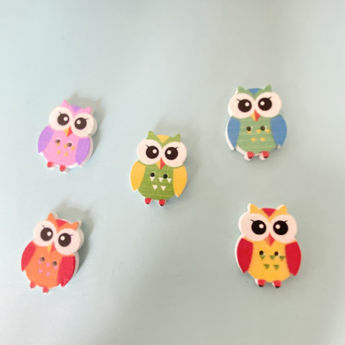 Pack of 5 Owl Buttons - Mixed colours