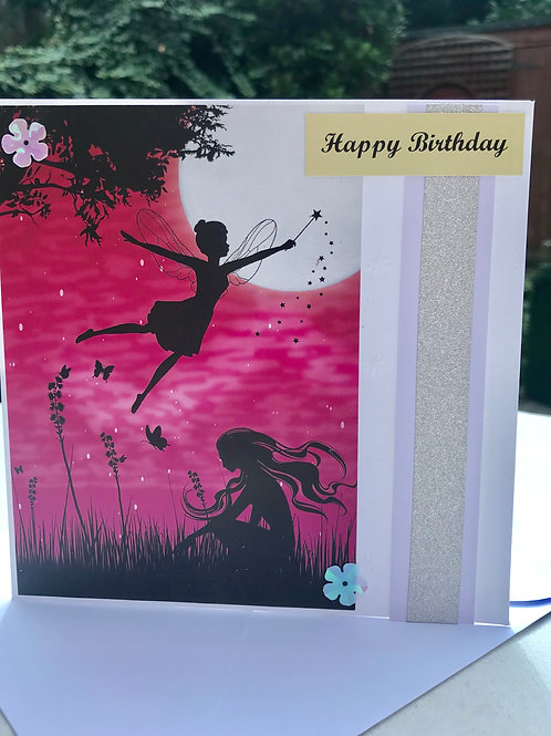 Pink Twilight Flying Fairy Birthday Card