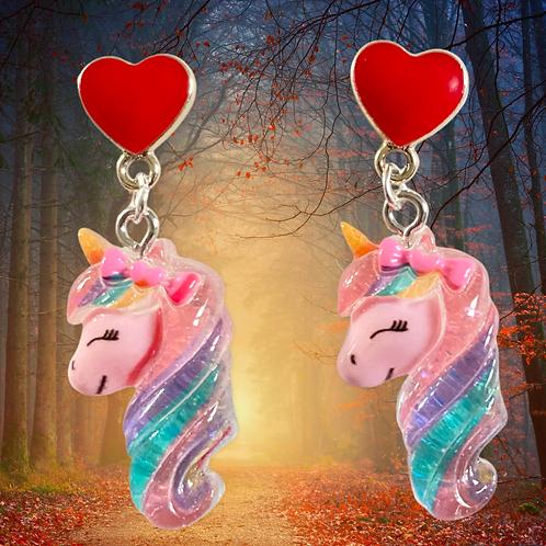 Magical Creatures - Unicorn Heart Earrings