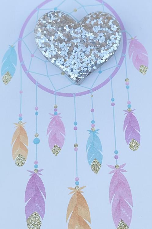 Glitter Heart Pin Badge - Silver