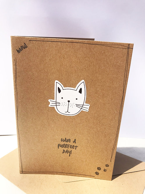 Purrfect Day Card - Whiskers Cat