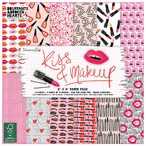Dovecraft Kiss & Makeup 8 x8 Paper Pack