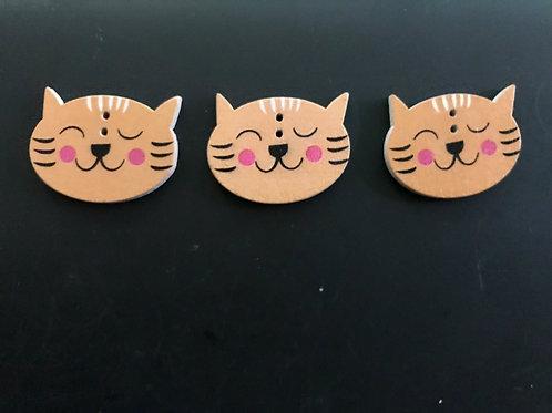 Wooden Cat Face Buttons