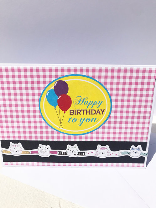 Quirky Cat Chain - Happy Birthday To You Card