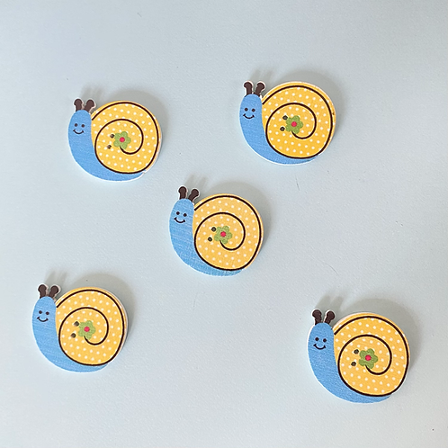 Snail Buttons - Yellow & Blue