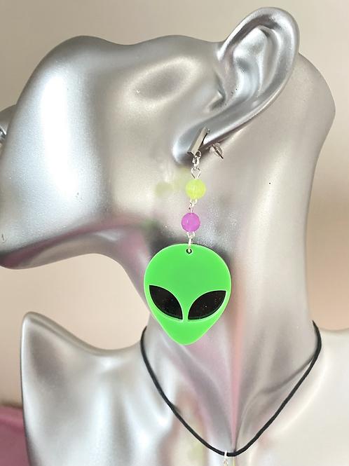 Believe - Green Alien Earrings