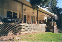 Insulated Cover White Wood Columns and Deck with Lattice
