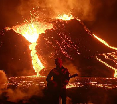Live music and live volcano in Iceland