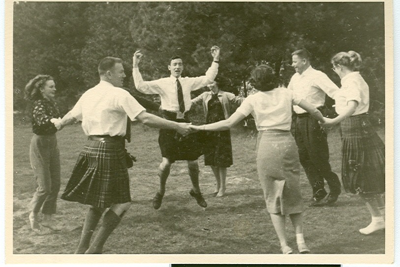 Scottish Country Dancers dancing at Asilomar, 1958