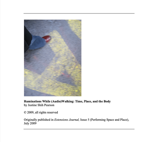 Ruminations While (Audio)Walking: Time, Place, and the Body (2009)