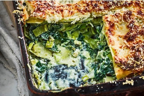 Spinach, leek and ricotta fresh pasta lasagne, FOR 2
