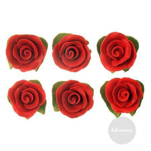 Red Cupcake Roses with Leaves - 6pc Hangsell