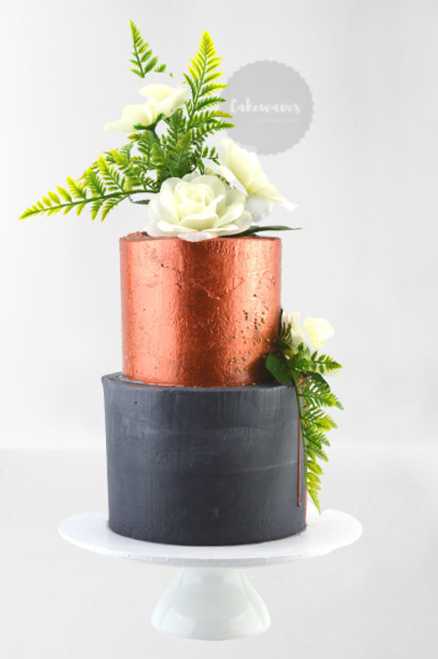 Two Tiered Copper Painted Wedding Cake