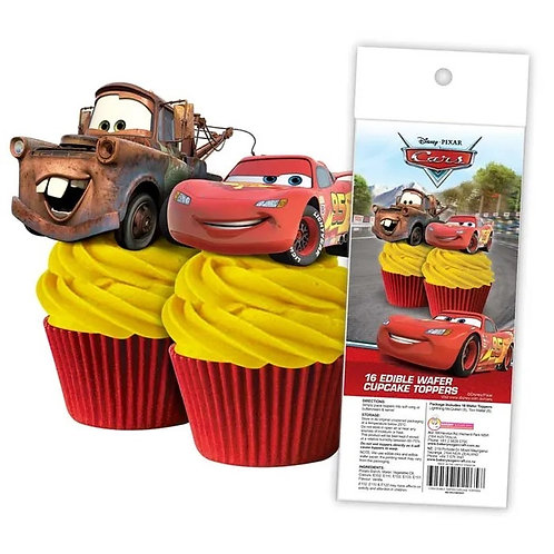 Disney Cars Edible Wafer Cupcake Toppers  - 16pc