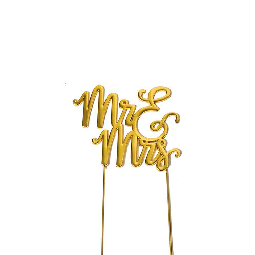 Gold Plated Mr & Mrs Cake Topper