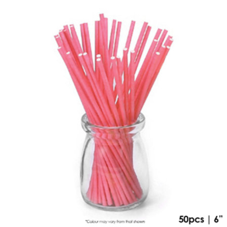 Coloured Lollipop Sticks 6 Inch - Red