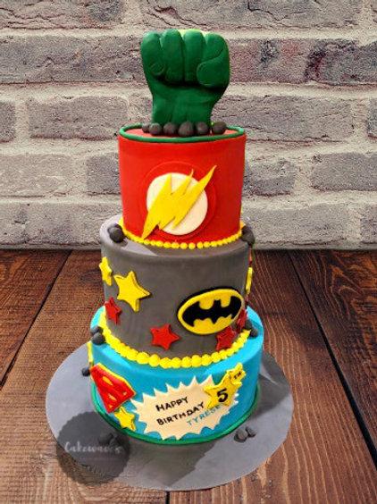 Three Tiered Superhero Birthday Cake