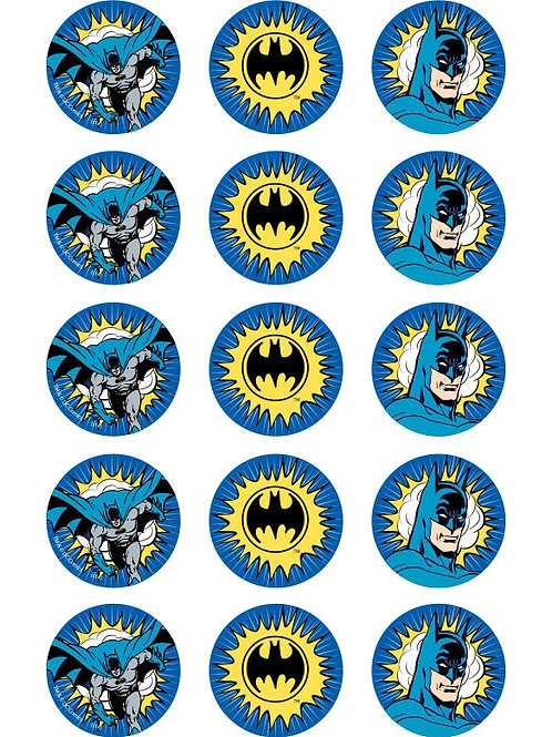 Batman Edible Image Style1 - Cupcake cirles 2 inch