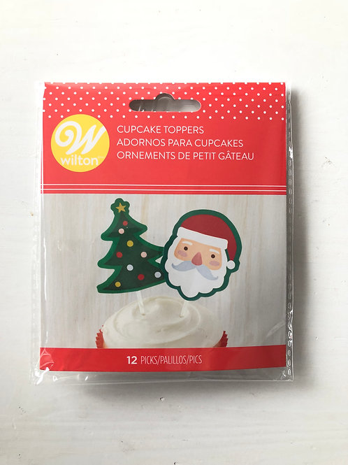 Christmas Santa Tree Cupcake Picks - 12 pc