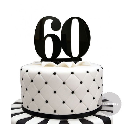 Number 60 - Black Acrylic Cake Topper