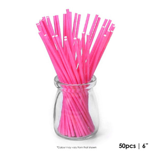 Coloured Lollipop Sticks 6 Inch - Pink