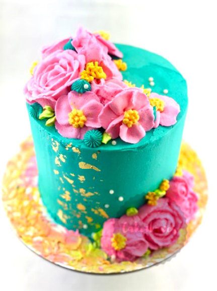 Buttercream Piped Flowers Cake Class - OPEN DATE
