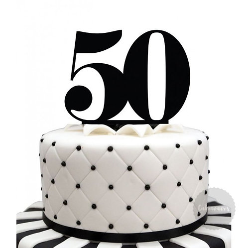 Number 50 - Black Acrylic Cake Topper