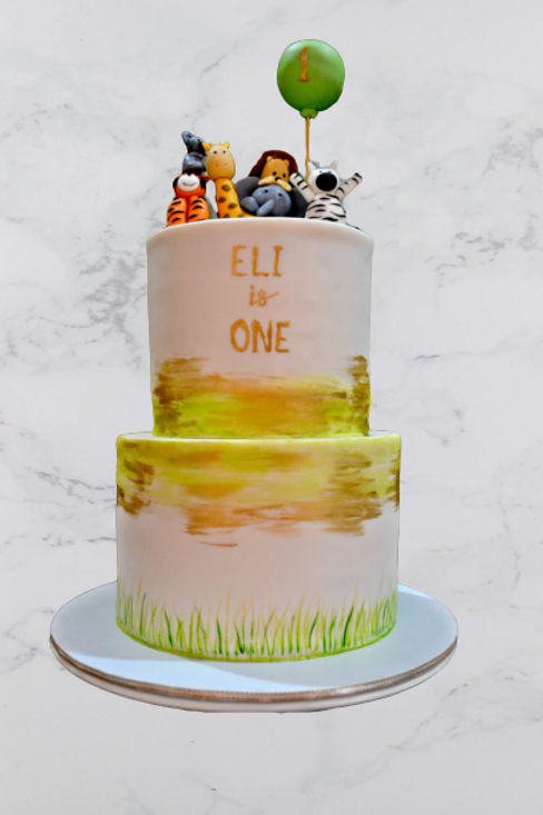 Safari Animals Celeberation Birthday Cake