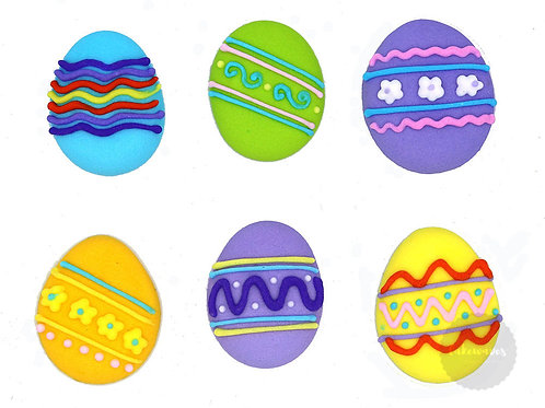 Assorted Easter Egg Royal Icing Decals 6pc
