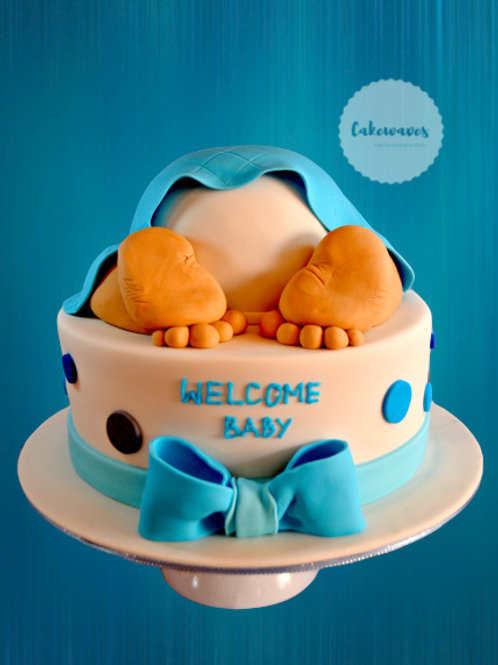 Two Tiered  Baby Bottom Baby Shower Cake
